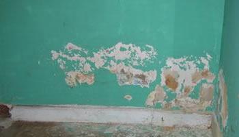 Schade aan muur door opstijgend vocht