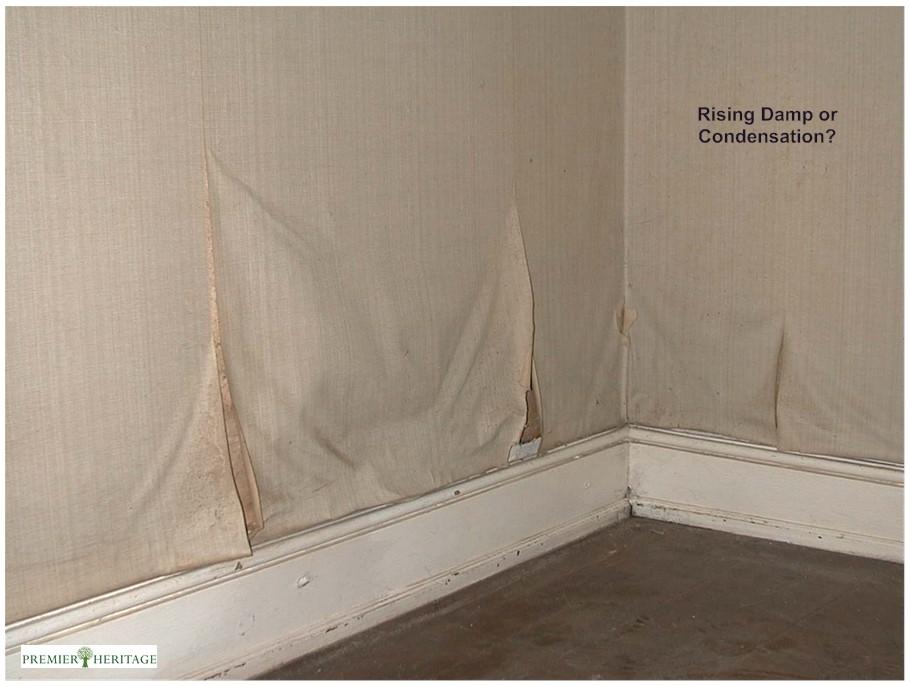 Loskomend behang door opstijgend vocht in de muren